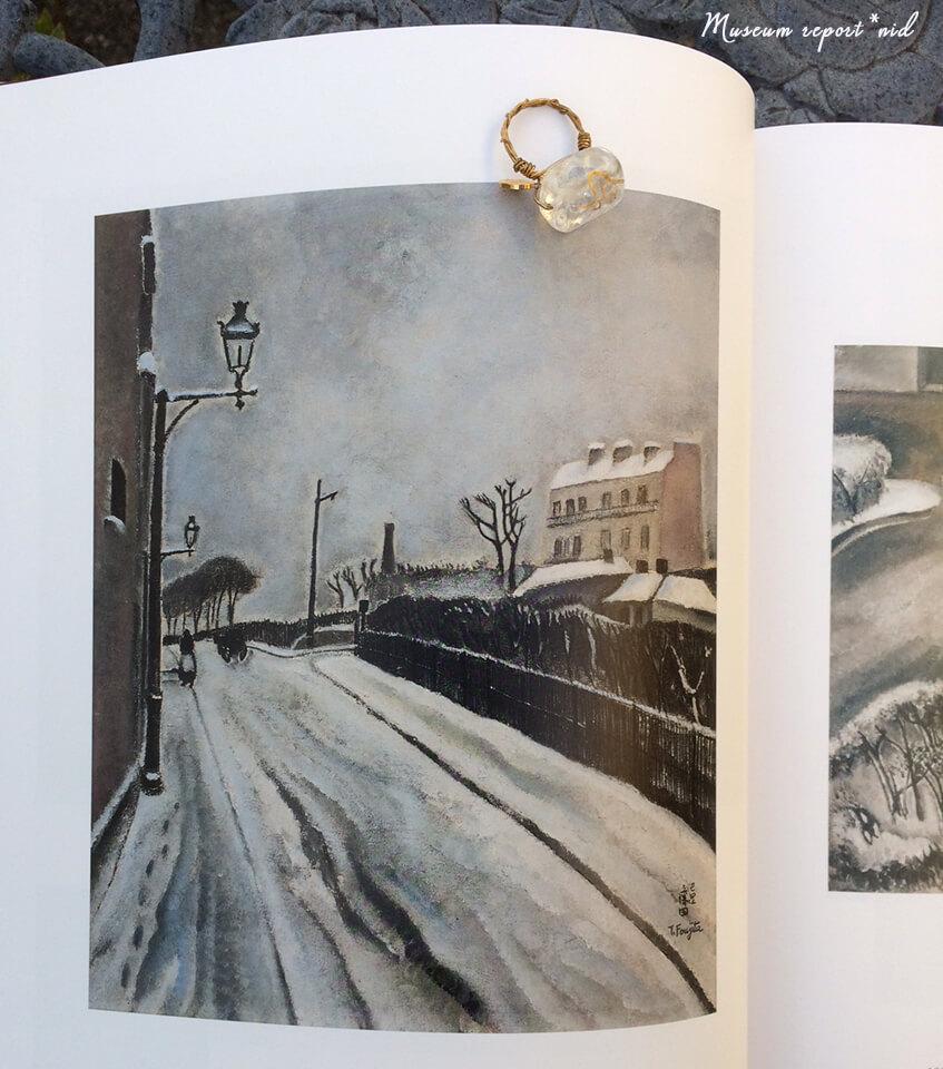 フジタ_雪のパリの町並み