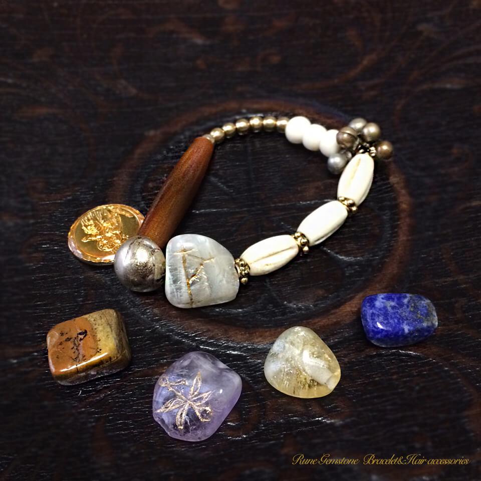 ルーンの宝石ブレスレット&ヘアアクセサリーall