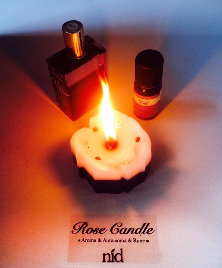 ローズキャンドルが出来ました。ニールズヤードアロマの香る、薔薇の形の一つずつ手作りキャンドルです。炎はよりロマンチックで美しい光です。