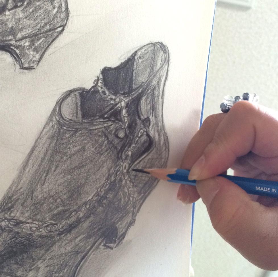 2014_9_18鉛筆_靴アートクラス