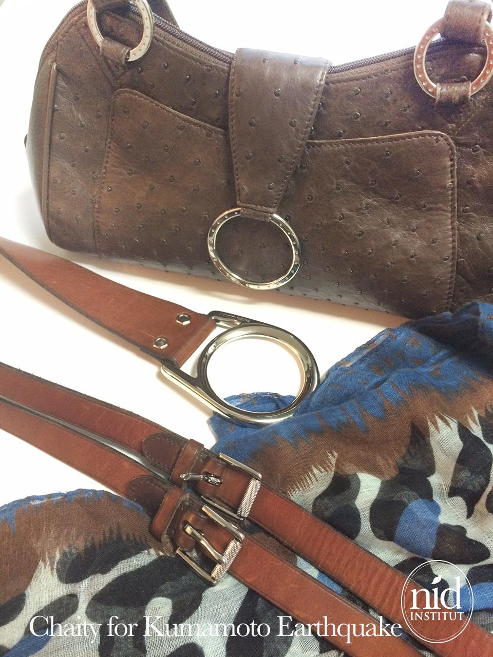 熊本地震チャリティーバッグやベルト オーストリッチのバッグ、ラルフローレンのベルト