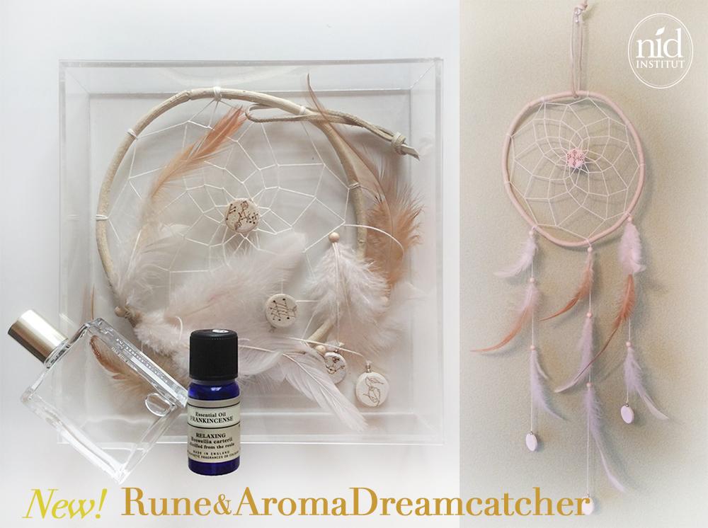 ルーン&アロマドリームキャッチャー 白く美しい、ルーンお守り付きアロマの香るドリームキャッチャー誕生!