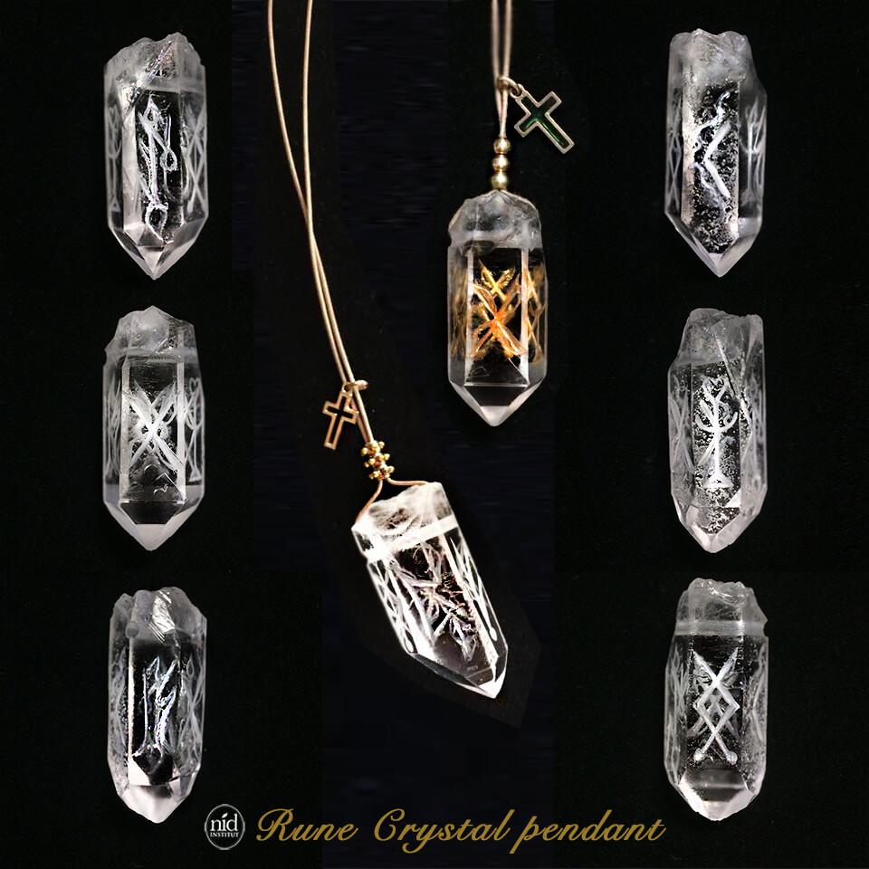 ルーンクリスタル_六角水晶メイン合成金丸
